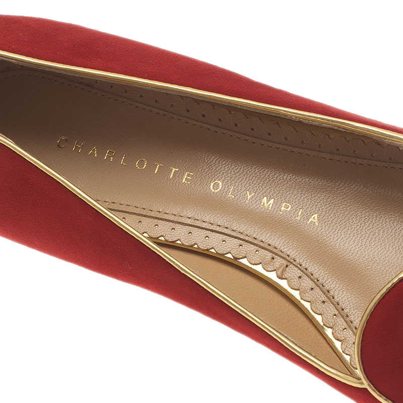Charlotte Olympia Red Suede Aries Smoking Slippers Size 36.5