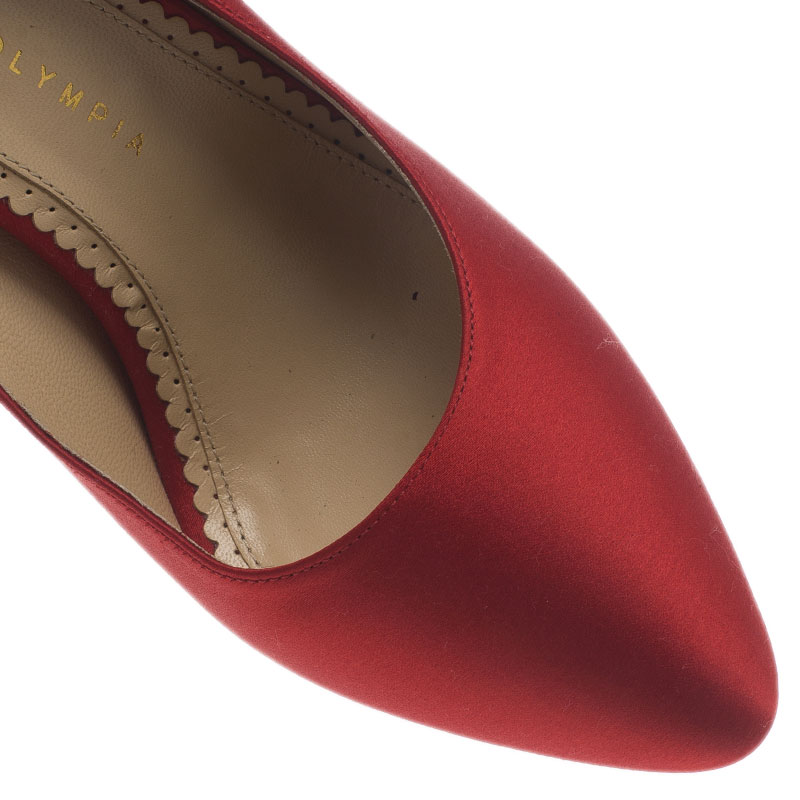 Charlotte Olympia Red Paloma Fan-Pleat Satin Pumps Size 38