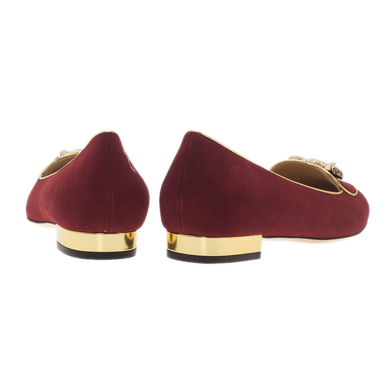Charlotte Olympia Red Suede Taurus Smoking Slippers Size 39