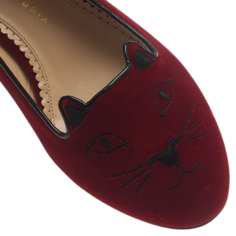 Charlotte Olympia Red Kitty Embroidered Velvet Smoking Slippers Size 39