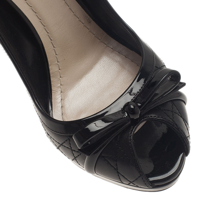 Dior Black Leather Cannage Bow Peep Toe Pumps Size 38