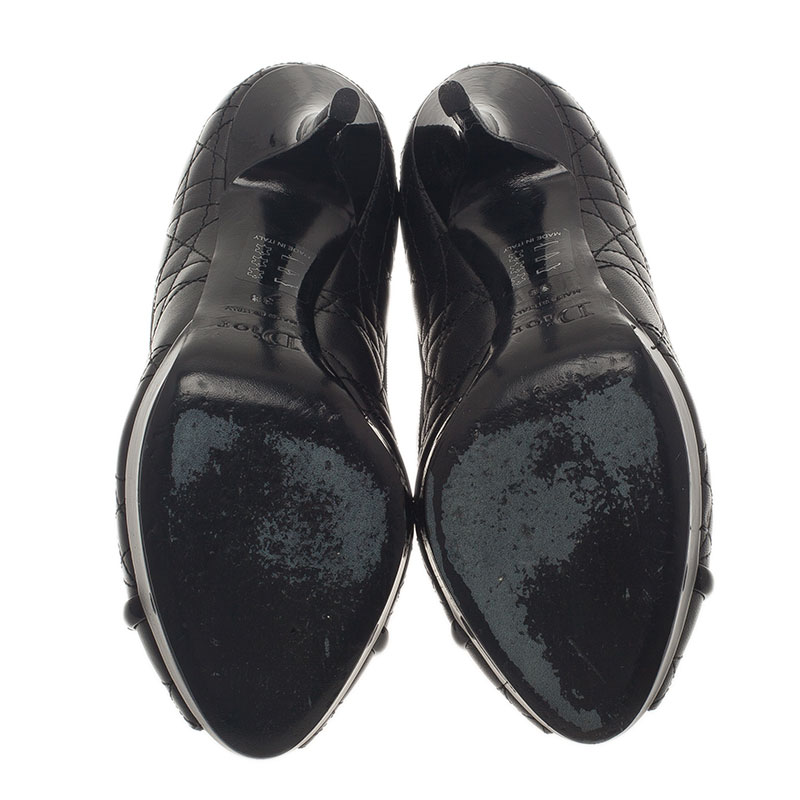 Dior Black Leather Cannage Bow Peep Toe Pumps Size 38