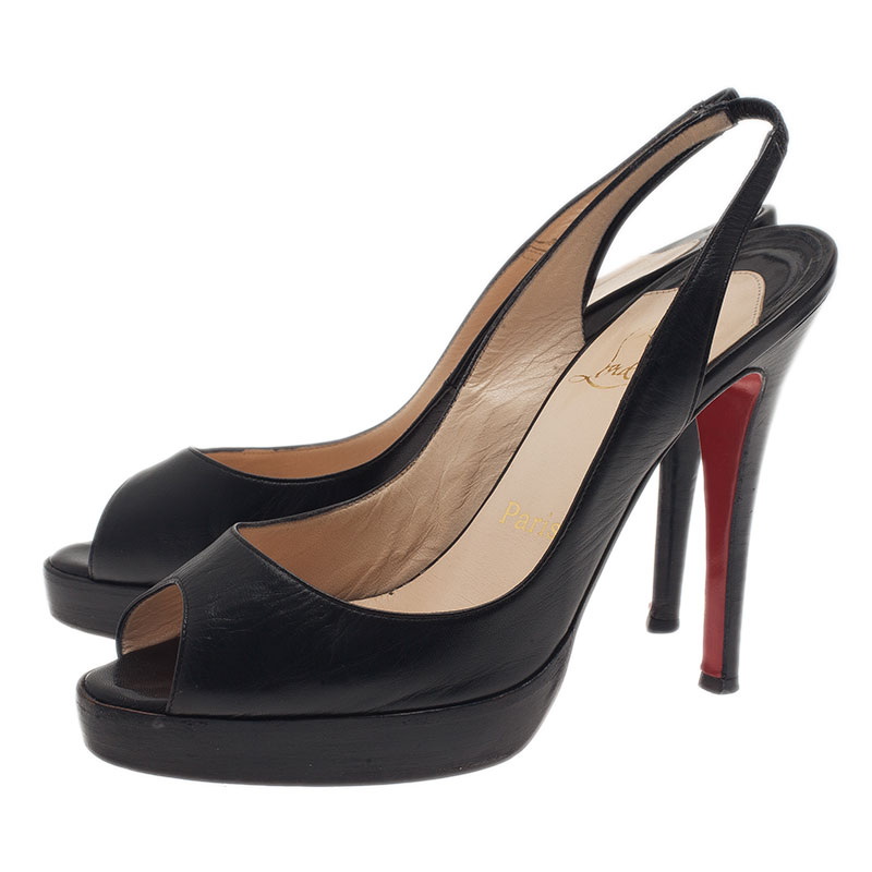 Christian Louboutin Black Leather N°Prive Slingback Sandals Size 37