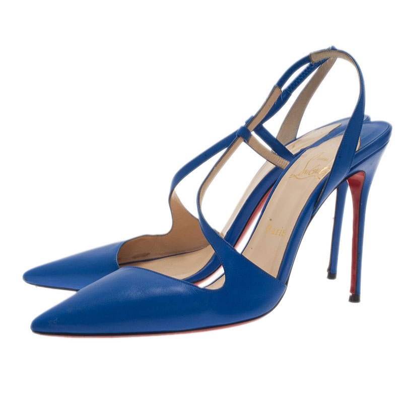 Christian Louboutin Blue Leather June Slingback Sandals Size 40