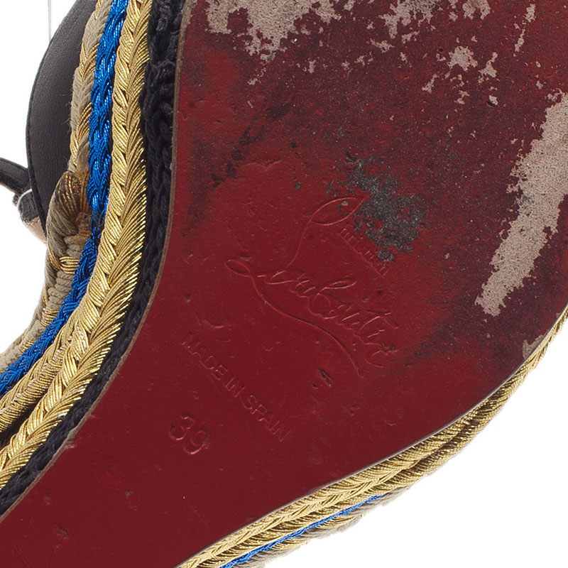 Christian Louboutin Black Leather T-Strap Trotolita Wedges Size 39