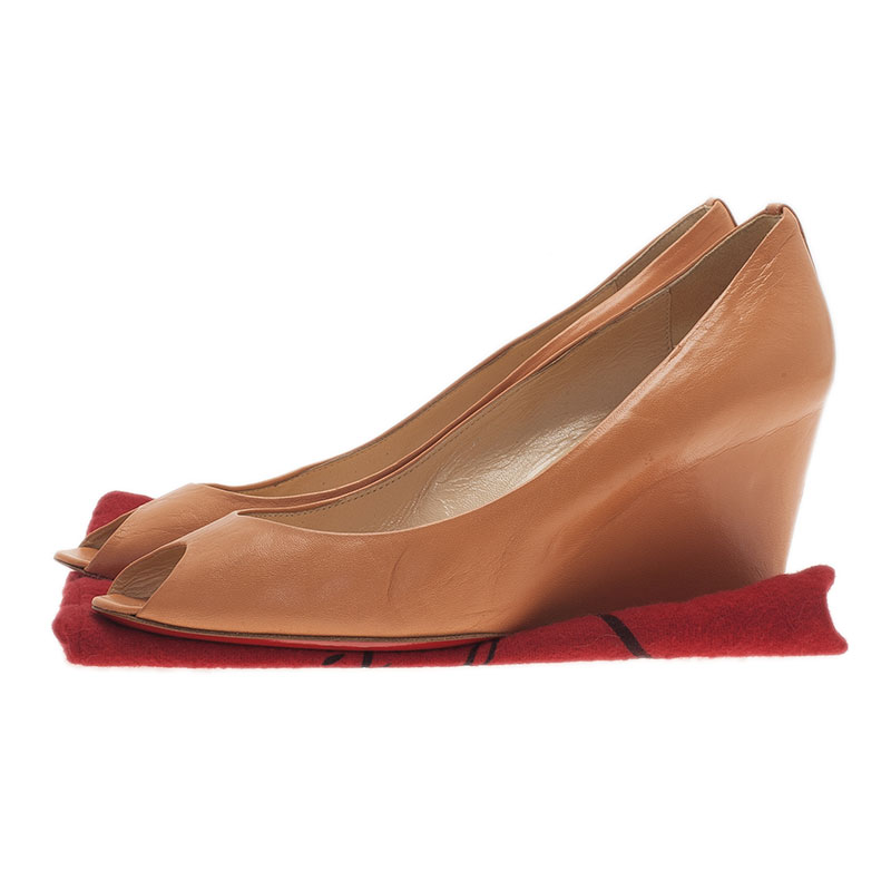 Christian Louboutin Orange Leather Materna Peep Toe Wedges Size 39