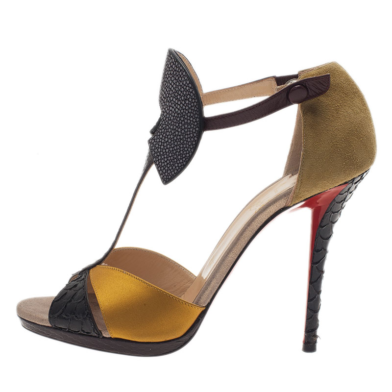 Christian Louboutin Python and Stingray Aztec Sandals Size 39