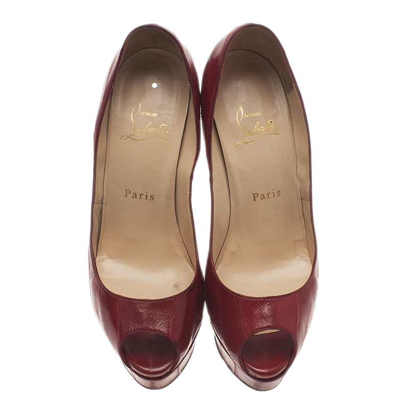 Christian Louboutin Red Eel Leather Lady Peep Toe Pumps Size 37.5