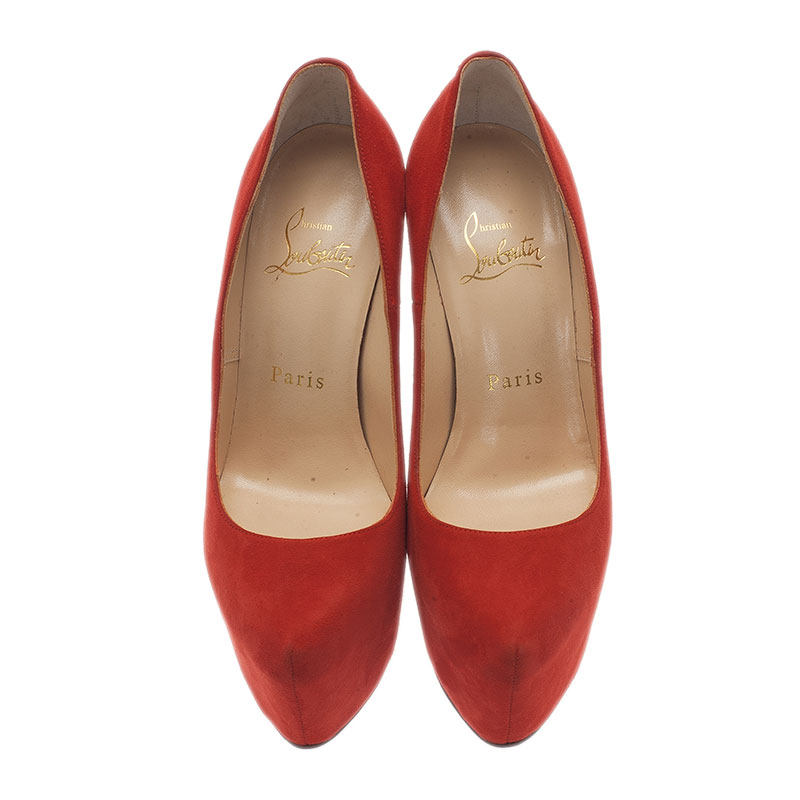 Christian Louboutin Red Suede Daffodile Platform Pumps Size 35