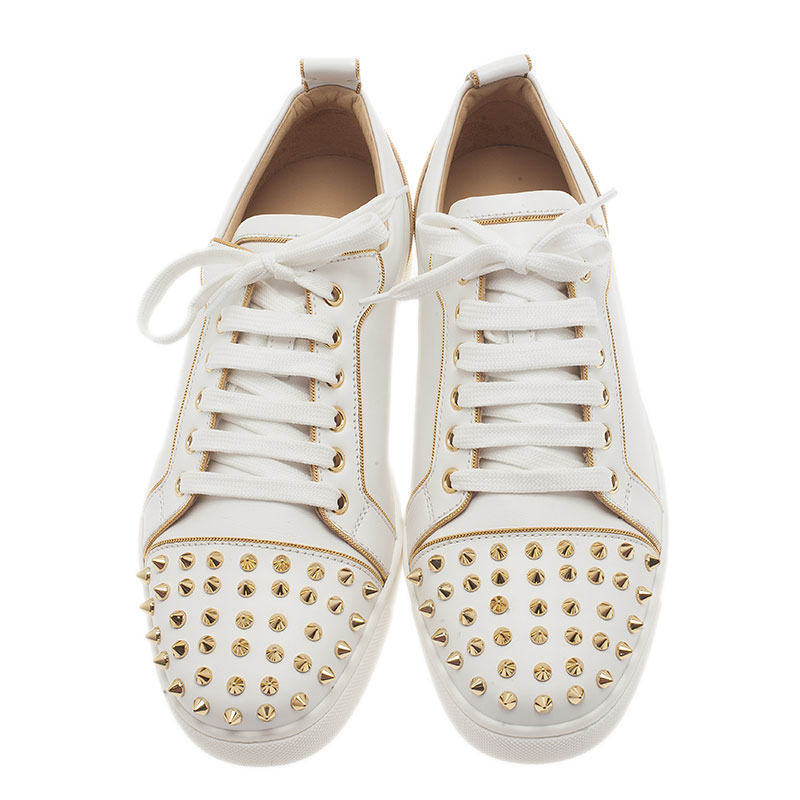 Christian Louboutin White Leather Rush Spiked Sneakers Size 40