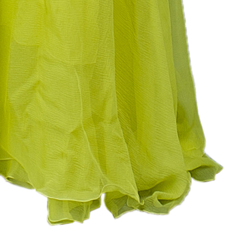 Roberto Cavalli Yellow Chiffon Strapless Gown  S