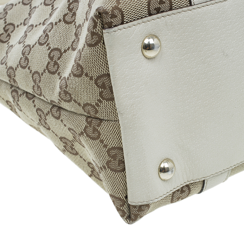 Gucci White and beige Monogram Medium Abbey Tote