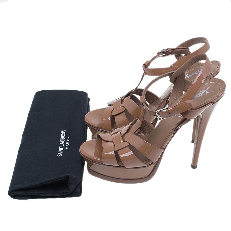 Saint Laurent Paris Beige Patent Tribute Platform Sandals Size 38