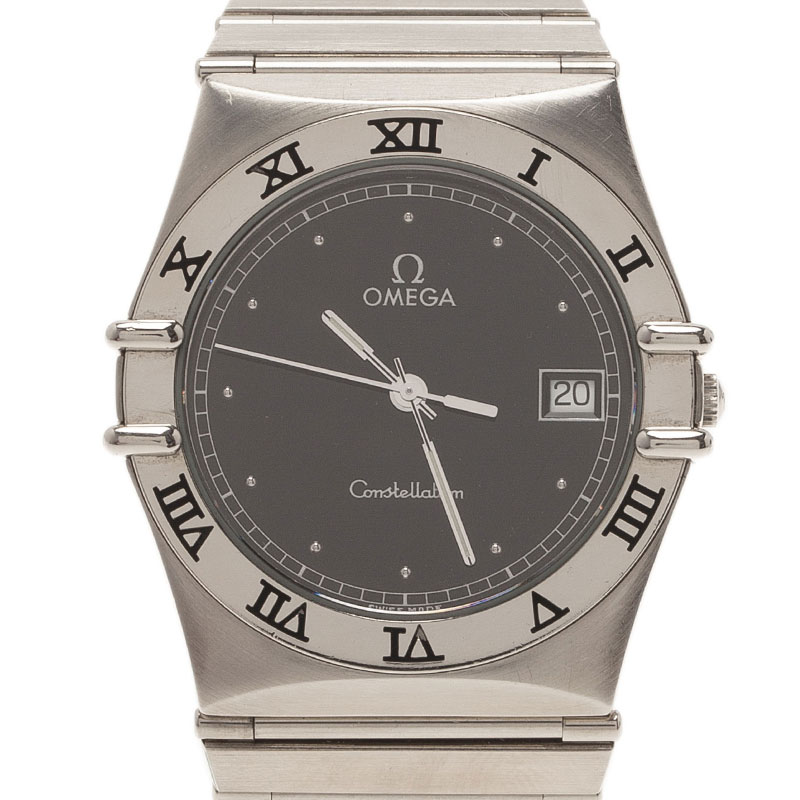 Omega Black Stainless Steel Constellation Women's Wristwatch 33MM