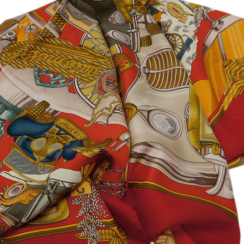Hermes Multicolor Automobile Silk Square Scarf