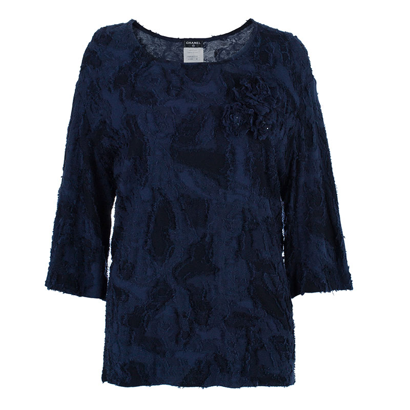 Chanel Navy Textured Camellia Top XL