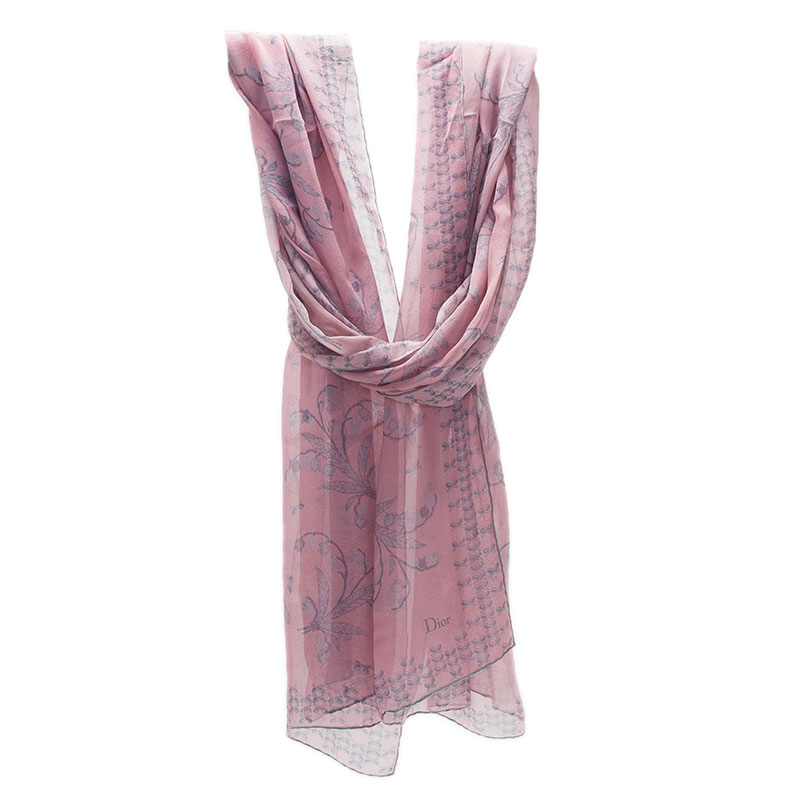 Dior Pink Floral Printed Silk Scarf
