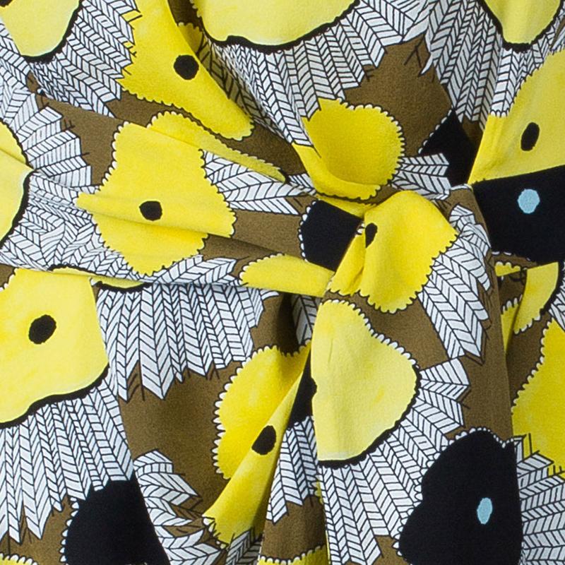 Diane von Furstenberg Yellow Floral Print New Della Print Lily Crepe Dress L