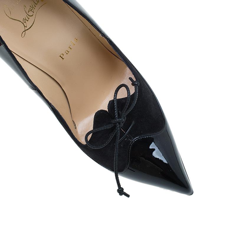 Christian Louboutin Black Patent Leather and Suede Queue De Pie Pumps Size 39