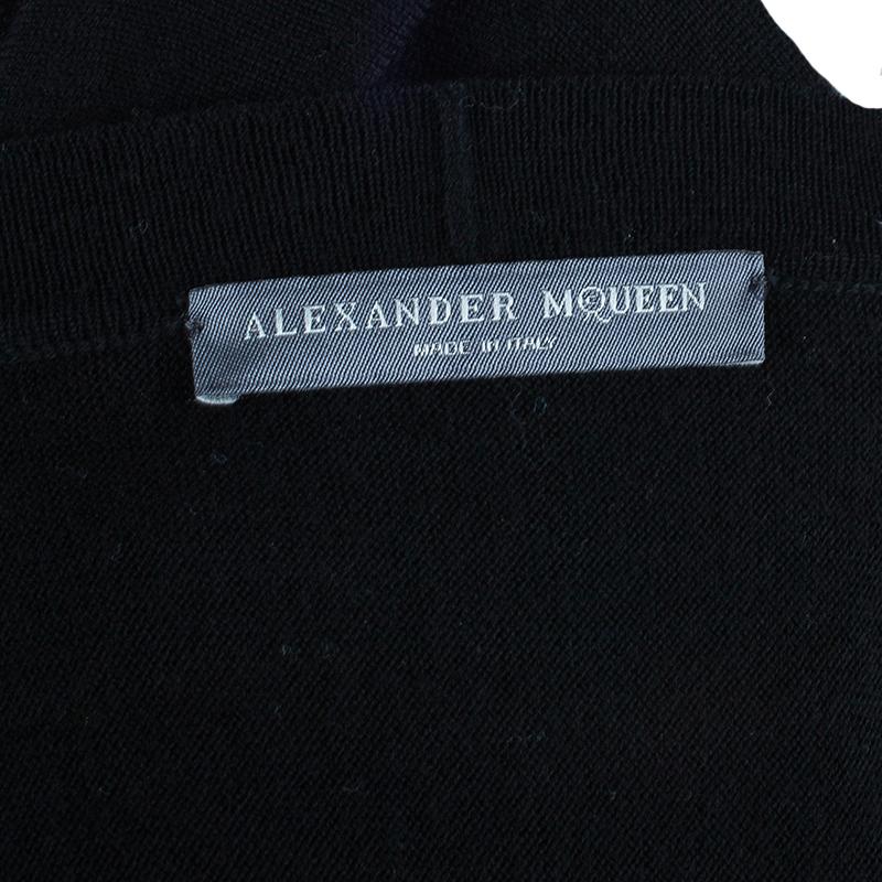 Alexander McQueen Black Wool Peplum Cardigan S