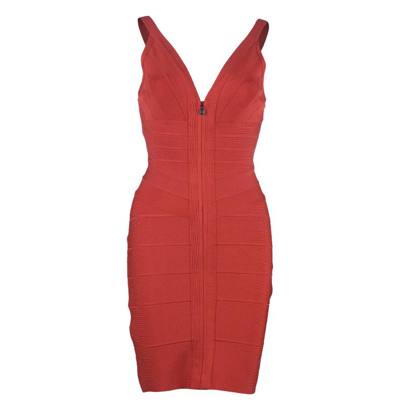 Herve Leger Red Pasha Bandage Dress S