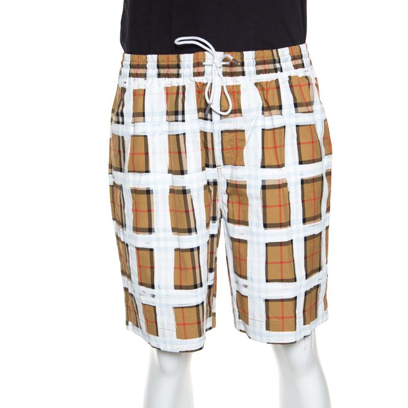 Купить со скидкой Burberry Brown Novacheck Printed Cotton Drawstring Detail Shorts XL