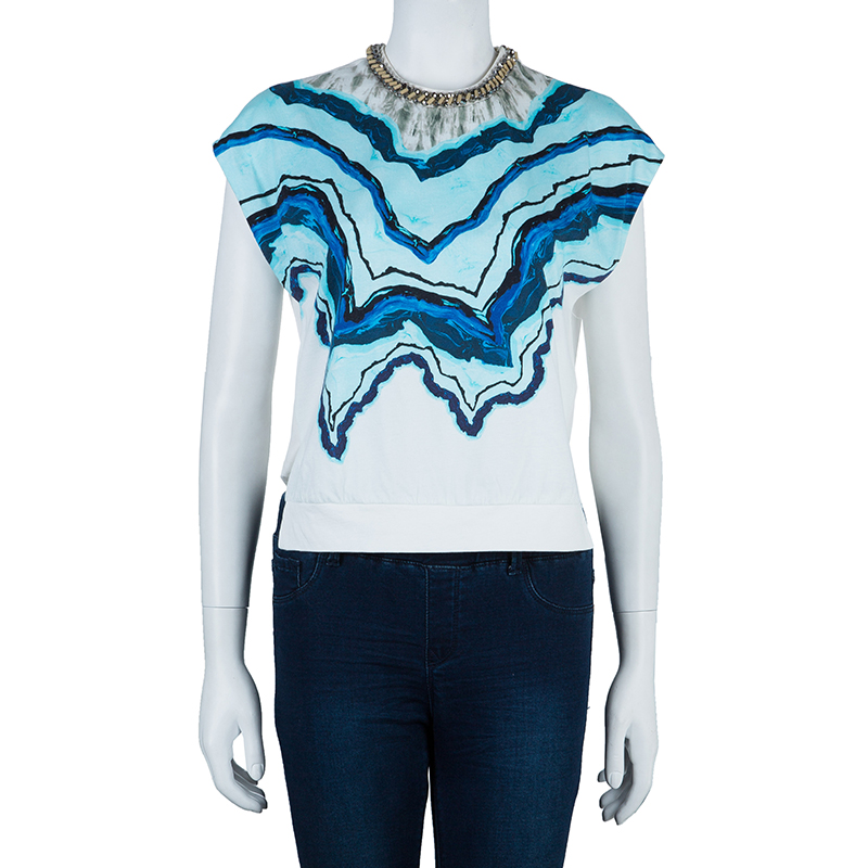 3.1 Phillip Lim Printed Chain Detail Crop Top XS