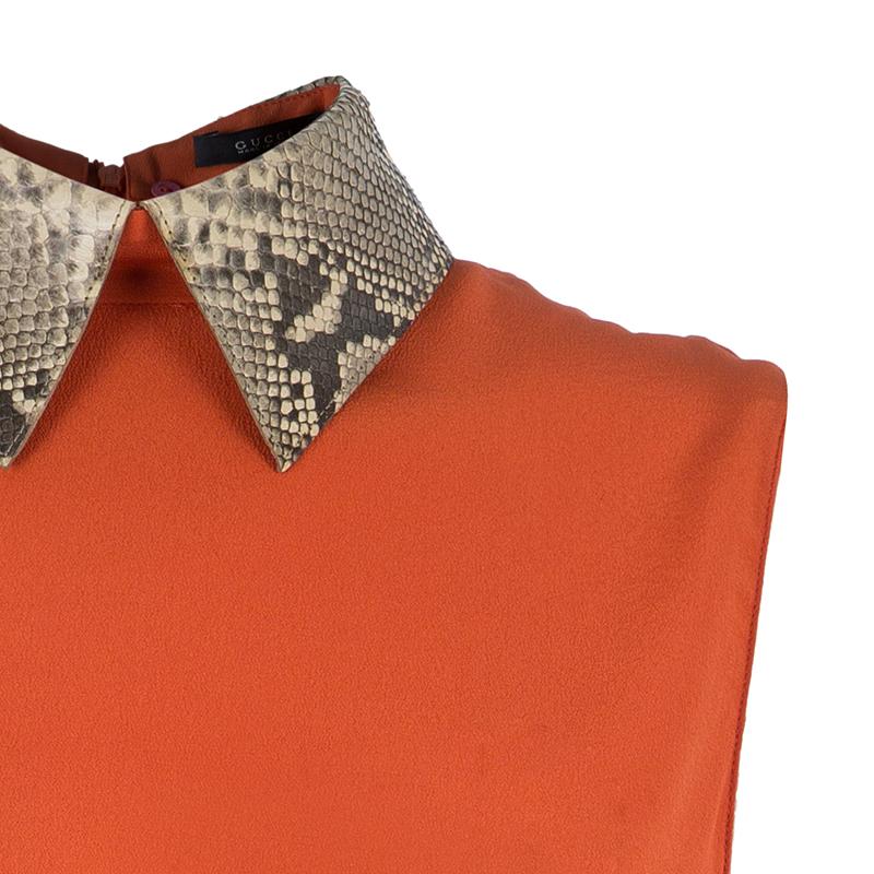 Gucci Orange Snakeskin Collar Sleeveless Top XS
