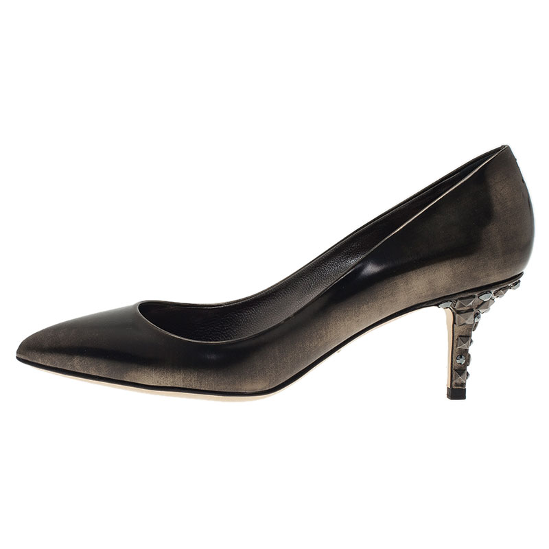 Dolce and Gabbana Metallic Leather Belluci K Pumps Size 39