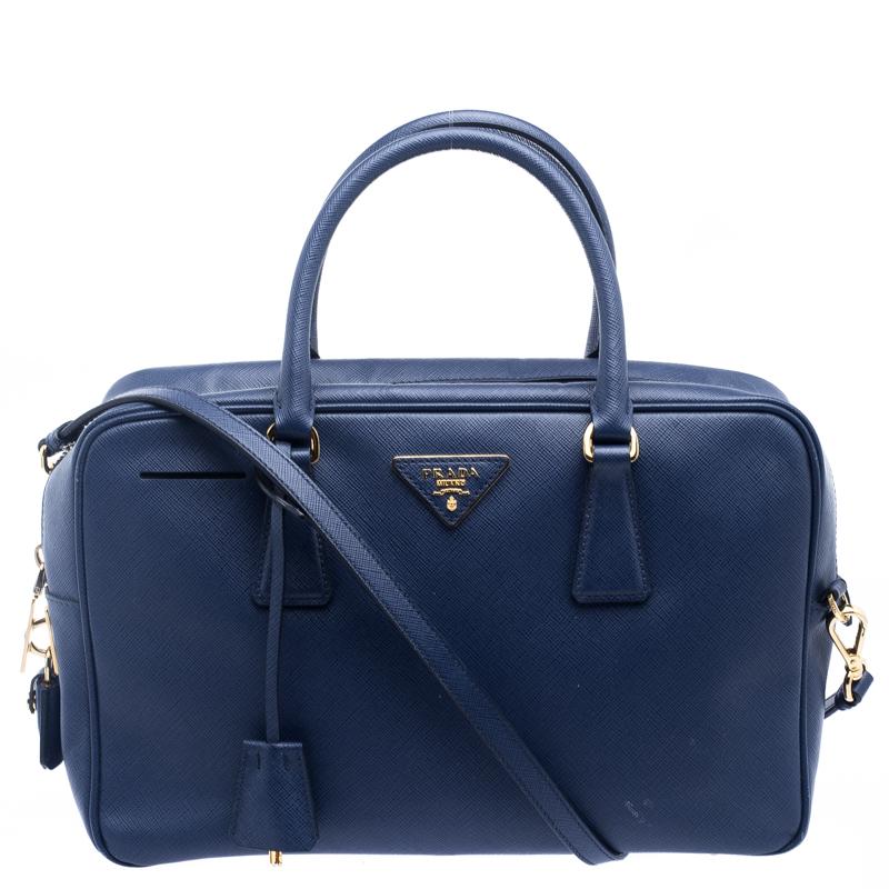 ad34301b7d1f ... reduced prada blue saffiano lux leather top handle bowling bag. nextprev.  prevnext 64d1c 120f0