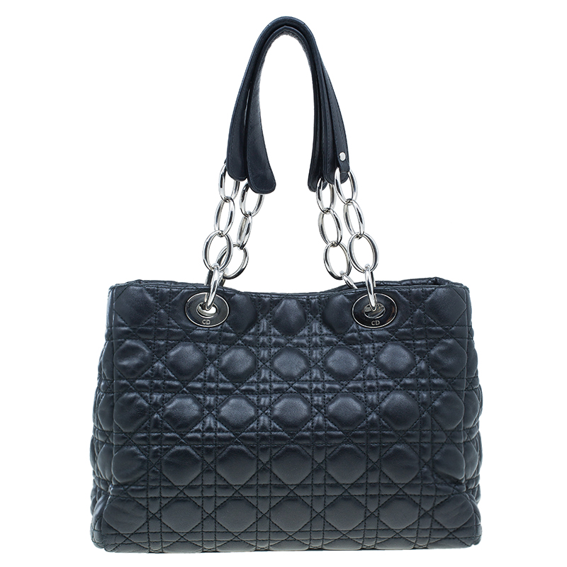 Dior Black Cannage Quilted Soft Leather Small Dior Shopping Tote