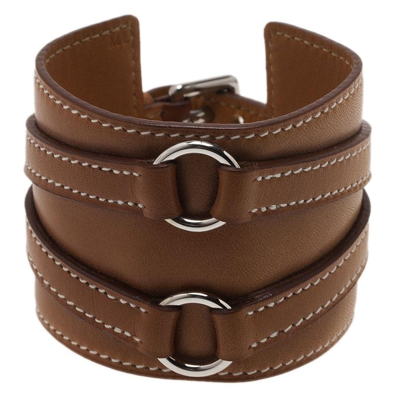 Hermes Alma Wide Brown Leather Bracelet
