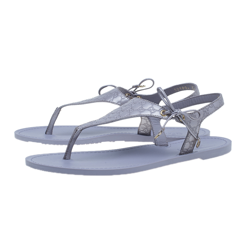 Gucci Lavender Leather Katina Thong Sandals Size 36