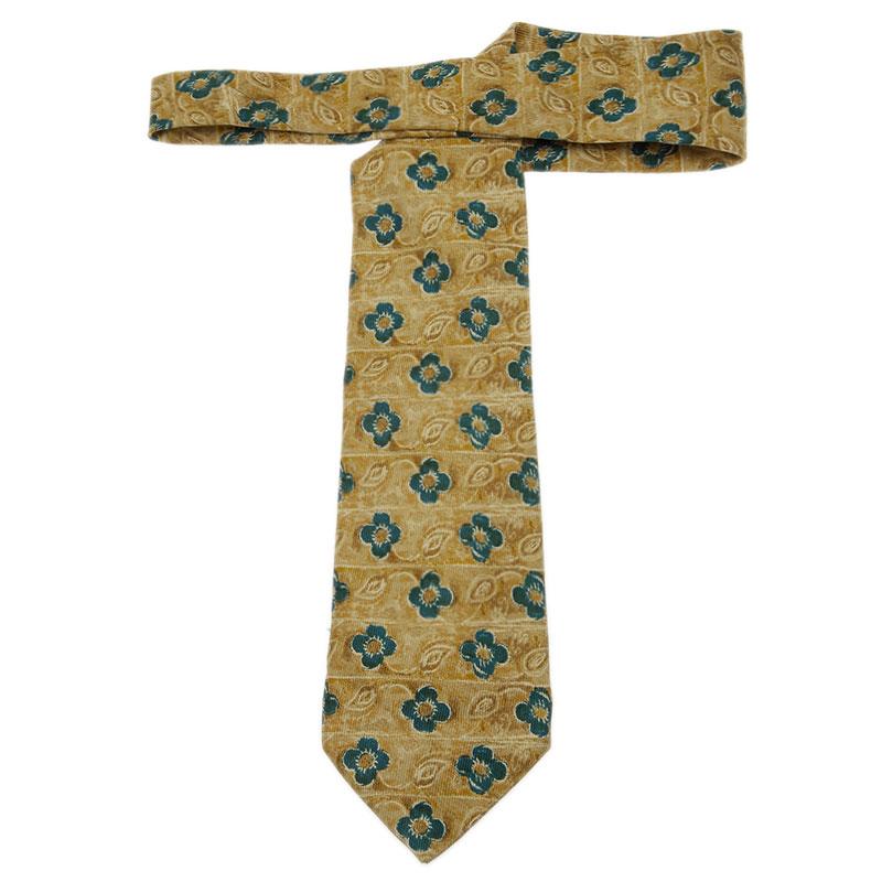 Ermenegildo Zegna Yellow Floral Print Silk Tie