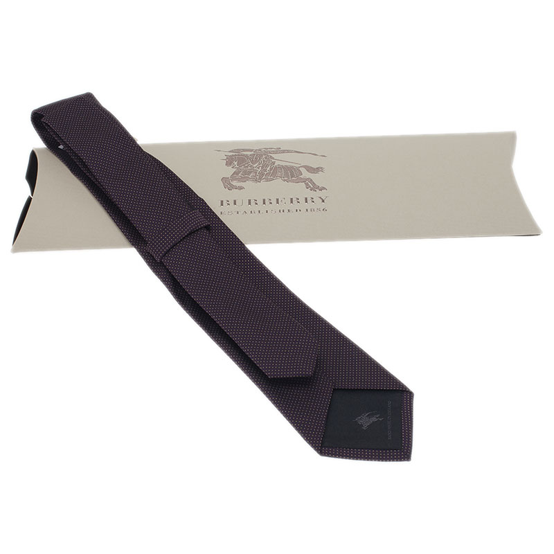 Burberry Purple Polka Dot Silk Tie