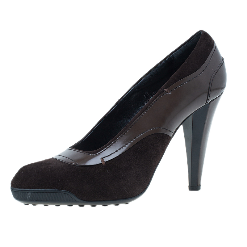 Tod's Brown Suede and Leather Almond Toe Pumps Size 39