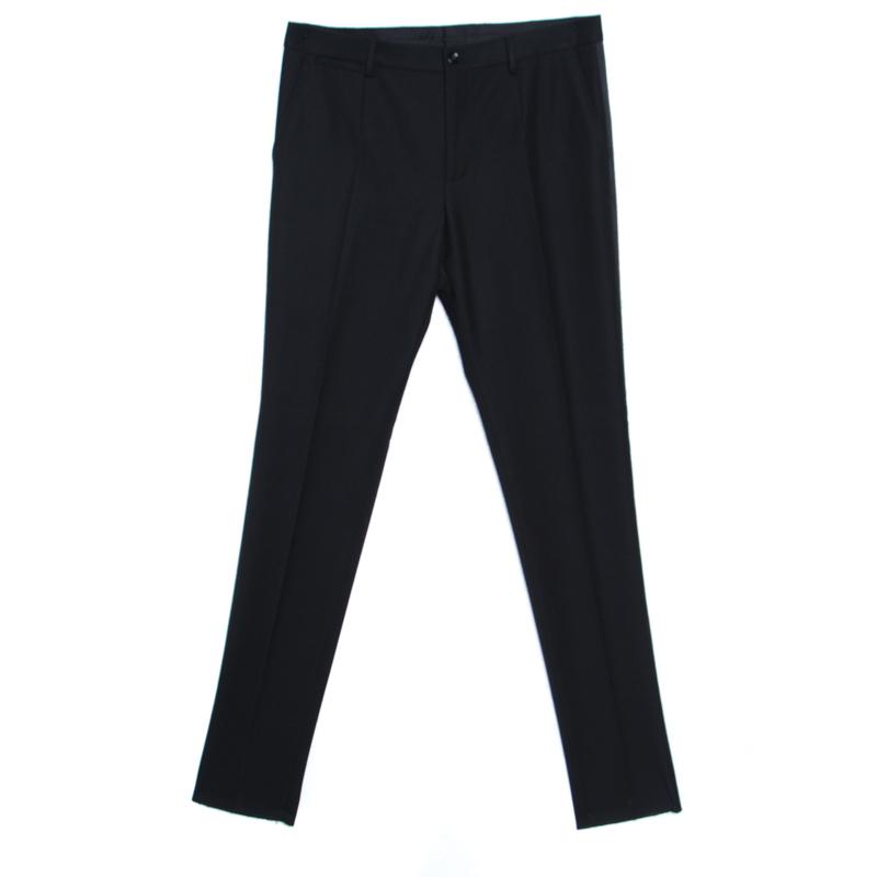 Купить со скидкой Dolce and Gabbana Black Wool Blend Satin Trim Tuxedo Trousers M