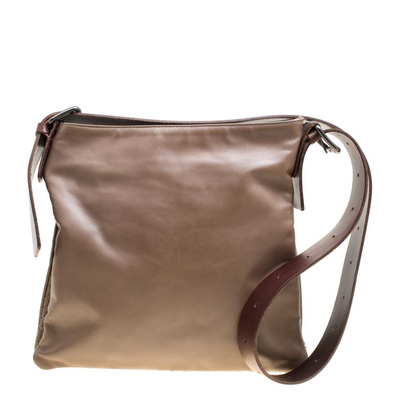 Купить со скидкой Bottega Veneta Brown Leather Messenger Bag
