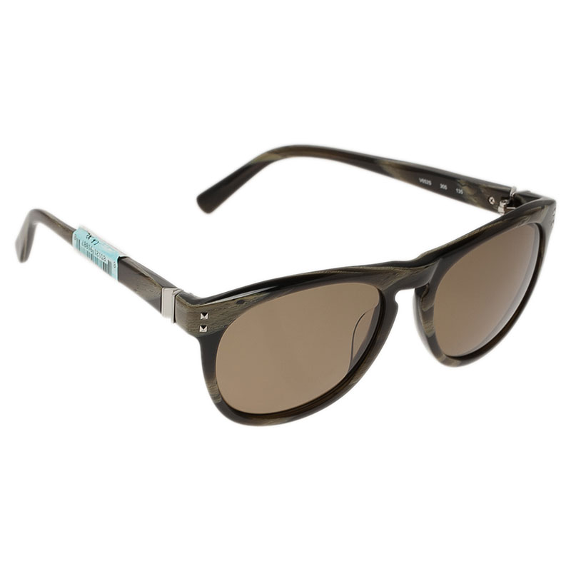 Valentino Brown and Green V652S Round Sunglasses