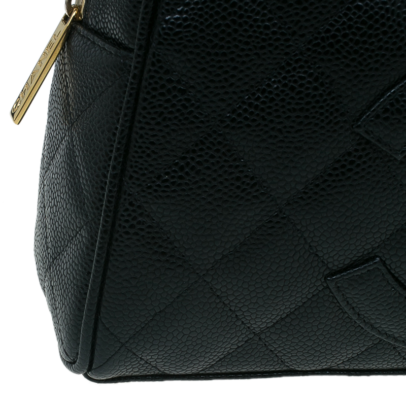Chanel Black Quilted Caviar Leather Small Bowler Bag
