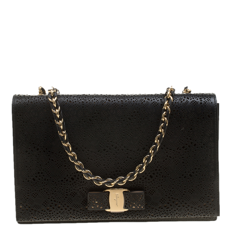 ... Salvatore Ferragamo Black Laser Cut Leather Ginny Crossbody Bag.  nextprev. prevnext 6a31518ef1