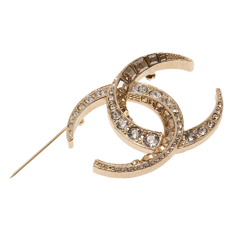 Chanel CC Moon Crystal Gold Tone Brooch