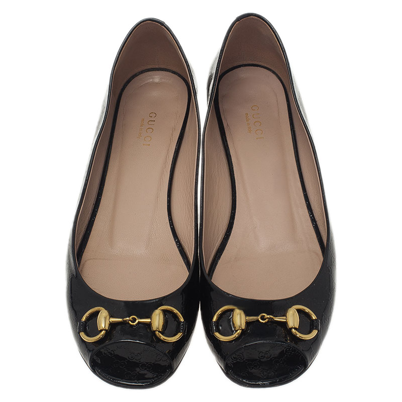 Gucci Black Microguccissima Leather Horsebit Peep Toe Ballet Flats Size 39