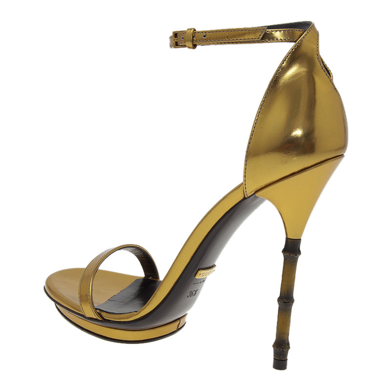 Gucci Gold Leather Open Toe Bamboo Sandals Size 36.5