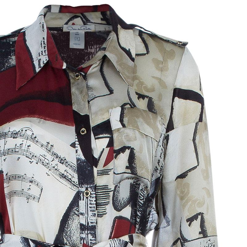 Oscar de la Renta Printed Silk Shirt Maxi Dress M