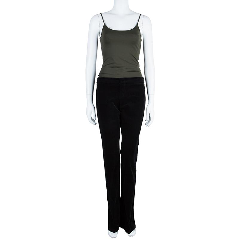 Gucci Black Velvet Flare Pants S