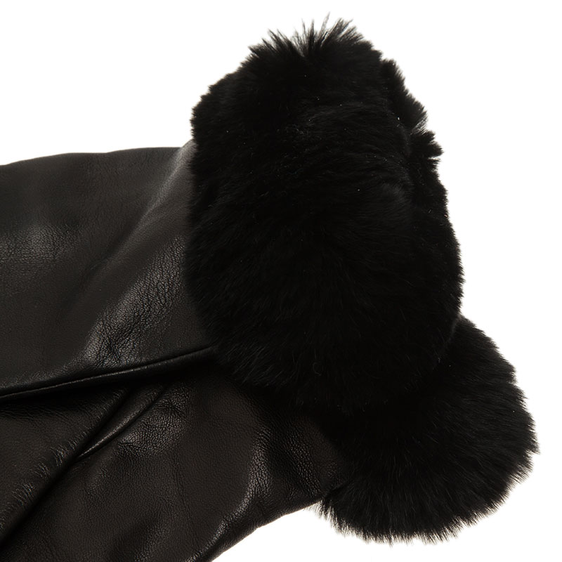 Valentino Black Leather and Fur Trim Gloves