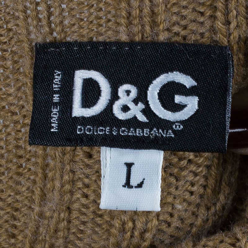 D and G Beige Turtleneck Sweater L