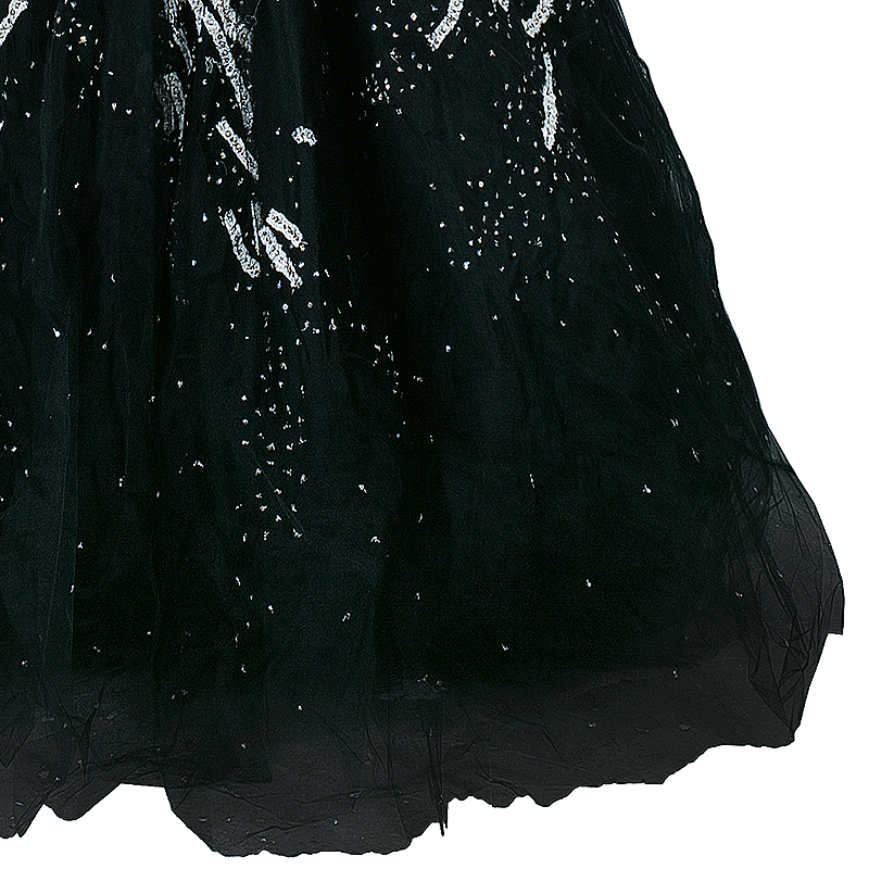 Marchesa Black Strapless Embellished Tulle Gown M