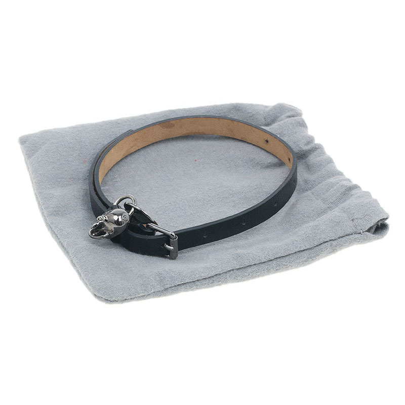 Alexander McQueen Black Leather Double Wrap Bracelet